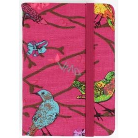 Albi Diář mini Růžový s ptáčky 7,5 cm × 11 cm × 1,1 cm