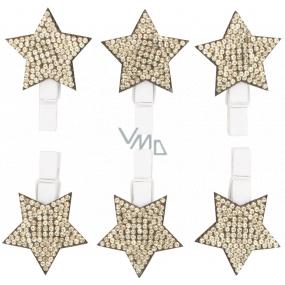 Hvězda dřevěná na kolíčku se zlatými kamínky 3 cm 6 kusů