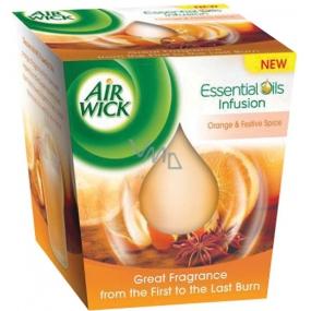 Air Wick Essential Oils Infusion Pomeranč a sváteční koření pice vonná svíčka ve skle 105 g
