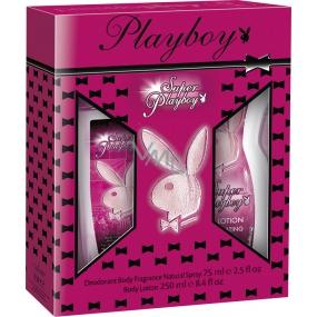 Playboy Super Playboy for Her parfémovaný deodorant sklo 75 ml + tělové mléko 250 ml, kosmetická sada