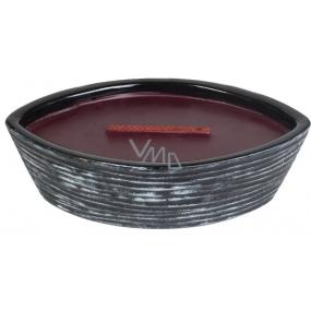 WoodWick Black Cherry - Černá třešeň Collection Premium vonná svíčka s dřevěným širokým knotem a víčkem loď 453 g