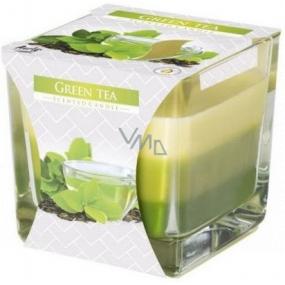 Bispol Green Tea - Zelený čaj tříbarevná vonná svíčka sklo, doba hoření 32 hodin 170 g