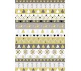 Ditipo Dárkový balicí papír 70 x 200 cm Vánoční zlato-stříbrný pruhy