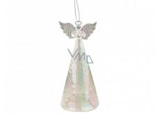 Anděl skleněný svítící LED 15 cm na postavení