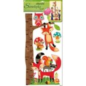 Room Decor Samolepky na zeď strom s lesními zvířátky, liška a sova 70 x 33 cm 1 arch