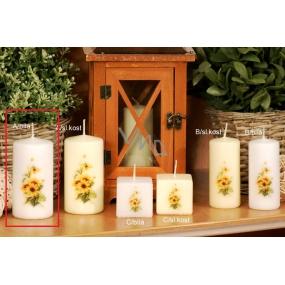 Lima Žlutý květ vonná svíčka bílá s obtiskem válec 50 x 100 mm 1 kus