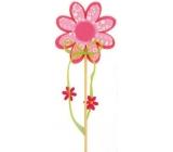 Květ z filcu růžový s bílým dekorem 8 cm + špejle