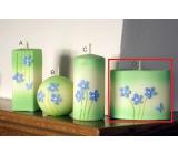 Lima Rozkvetlá louka svíčka světle zelená elipsa 110 x 90 mm 1 kus