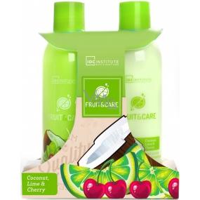 Idc Institute Fruit & Care Coconut, Lime & Cherry sprchový gel 180 ml + tělové mléko 180 ml, kosmetická sada