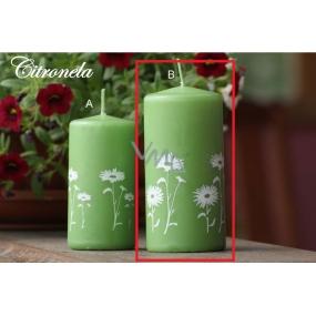 Lima Citronela svíčka proti komárům vonná repelentní s motivem květin zelená listová válec 60 x 120 mm