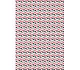 Ditipo Dárkový balicí papír 70 x 100 cm Bílý červené, černé a šedé motýlky 2 archy