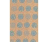 Ditipo Dárkový balicí papír 70 x 200 cm KRAFT Modrá kolečka