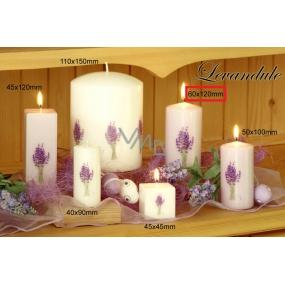 Lima Květina Levandule vonná svíčka bílá s obtiskem levandule válec 60 x 120 mm 1 kus
