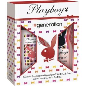 Playboy Generation for Her parfémovaný deodorant sklo 75 ml + sprchový gel 250 ml, kosmetická sada
