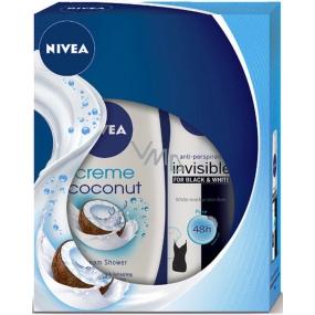 Nivea Coconut Sensation krémový sprchový gel 250 ml + Invisible Black & White Pure antiperspirant deodorant sprej pro ženy 150 ml,pto ženy kosmetická sada
