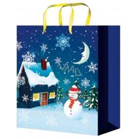 Anděl Taška vánoční dárková pro děti modrá,domek,sněhulák L 32 x 26 x 12,7 cm