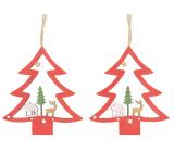 Strom dřevěný závěsný červený 8 cm 2 kusy