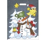 Igelitová taška mikulášská Sněhuláci 46 x 35 cm