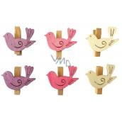 Ptáčci s kolíčkem dřevění 4 cm, 6 kusů