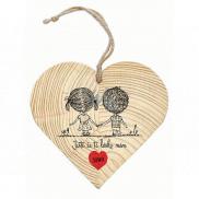 Bohemia Gifts & Cosmetics Dřevěné dekorační srdce s potiskem Ještě že tě lásko mám 12 cm
