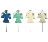 Anděl dřevěný modro-zeleno-béžovo-přírodní 8 cm + drátek 1 kus
