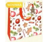 Nekupto Dárková papírová taška luxusní 23 x 23 cm Perníčky Vánoční WLIM