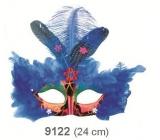 Škraboška plesová červená s modrým peřím 30 cm vhodná pro dospělé