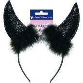 Čertovské rohy černé čelenka 1 kus