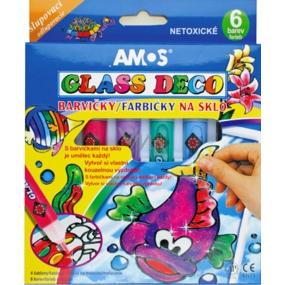 Amos Barvy na sklo slupovací sada 5 tub barev 10 ml + 1 konturu , 4 šablony + 2 fólie na malování