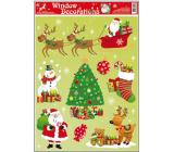 Okenní fólie bez lepidla vánoční motivy uprostřed vánoční stromek 42 x 30 cm