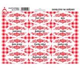 Arch Samolepky na kořenky s červeným ornamentem Sůl - základní druhy koření 0312