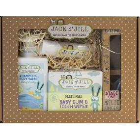 Jack N Jill Balíček pro novorozence Simplicity sprchový gel 300 ml + zubní kartáček na prst 2 ks + zubní pasta 50 g + ubrousky na zuby 25 ks + gel na zoubky + krabička, dárková sada