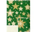 Nekupto Dárkový balicí papír 70 x 200 cm Vánoční Zelený se zlatými hvězdami
