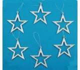 Hvězdy stříbrné 6 ks v krabičce 7,5 cm