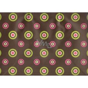 Nekupto Dárková kraftová taška střední 32,5 x 26 x 13 cm hnědá s barevnými kolečky, 195 CL