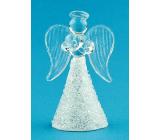 Anděl skleněný na postavení úzký 6 cm