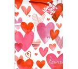 Nekupto Dárková papírová taška velká 32,5 x 26 x 13 cm Srdce 1718 30 KFL