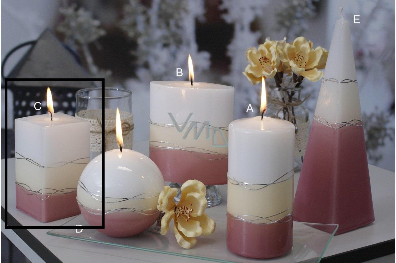 Lima Verona svíčka starorůžová hranol 65 x 120 mm 1 kus