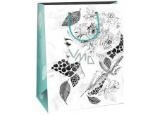 Ditipo Dárková papírová taška k vymalování střední bílá, dáma růže 22 x 10 x 29 cm Kreativ 40