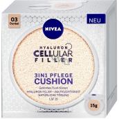 Nivea Hyaluron Cellular Filler 3v1 pečující tónovací krém make-up v houbičce 03 Tmavý odstín 15 g