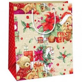 Ditipo Dárková papírová taška 18 x 10 x 22,7 cm medvídci dárky Vánoční hvězda