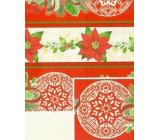Nekupto Dárkový balicí papír 70 x 500 cm Červenobéžový vánoční hvězda