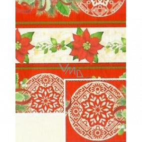 Nekupto Dárkový balicí papír 70 x 500 cm Vánoční Červenobéžový hvězda