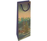 Nekupto Dárková kraftová taška na láhev 15 x 40 cm Vánoční zimní krajina 613 WHLH