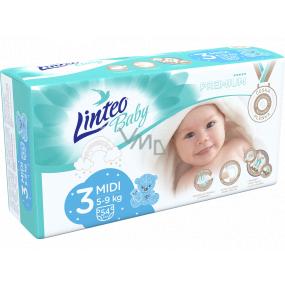 Linteo Baby Premium 3 Midi 5 - 9 kg jednorázové plenky 54 kusů