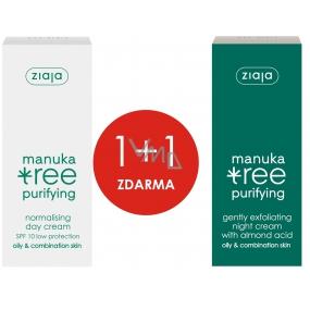 Ziaja Manuka denní krém normalizační 50 ml + Manuka noční krém jemně exfoliační 50 ml, duopack