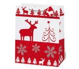 BSB Luxusní dárková papírová taška 36 x 26 x 14 cm Vánoční Red & White VDT 334 - A4