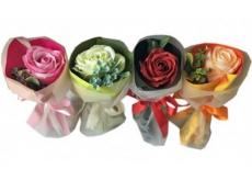 NeoCos Mýdlová růže kytice v papíru oranžová 1 kus