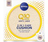 Nivea Q10 Plus Anti-Age Cushion 3v1 pečující tónovací krém v houbičce 02 Dark 15 g