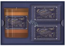 Castelbel Máta peprná tuhé mýdlo 2 x 150 g + svíčka ve skle 180 g, luxusní kosmetická sada pro muže